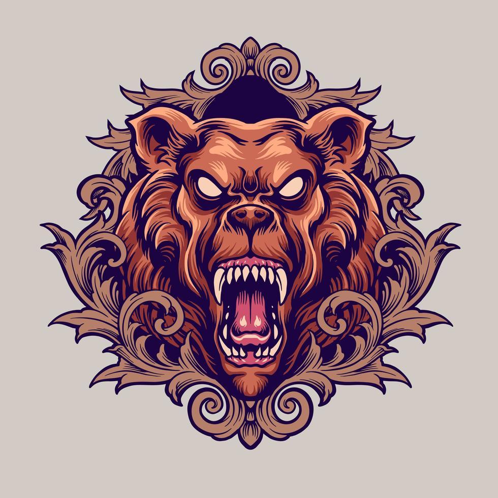 mascotte orso arrabbiato con illustrazione di ornamenti vettore