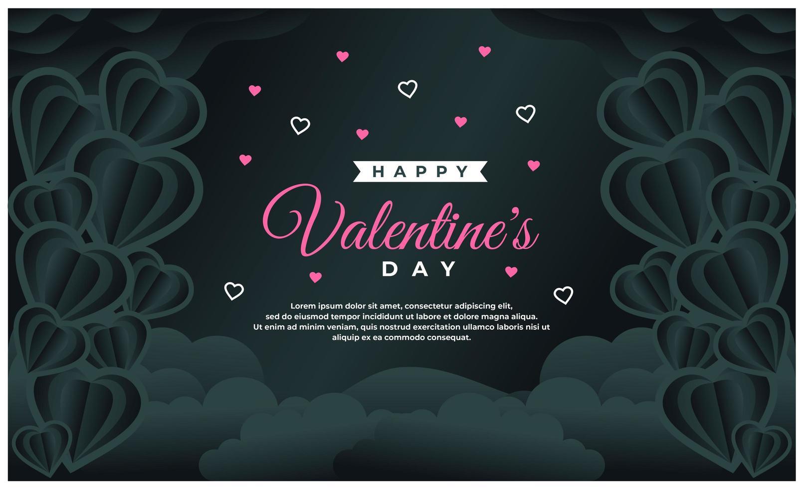 felice modello di banner di san valentino con sfondo scuro vettore