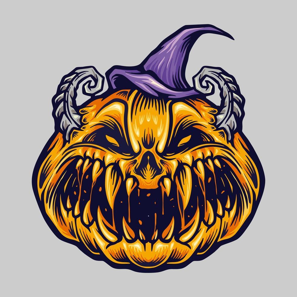 zucca di halloween raccapricciante spettrale con illustrazione del cappello vettore