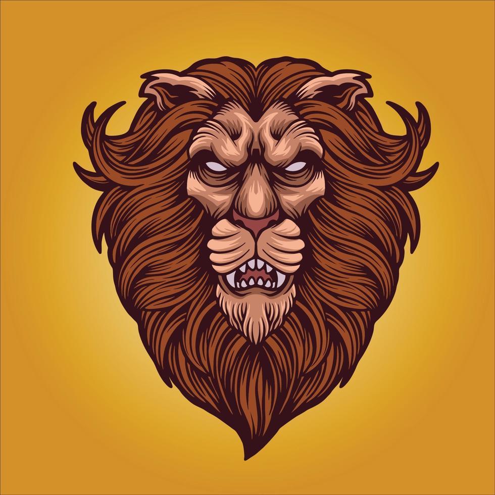 mascotte testa di leone arrabbiato vettore