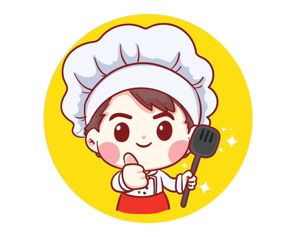 chef professionista con cibi nelle mani illustrazione arte del fumetto vettore