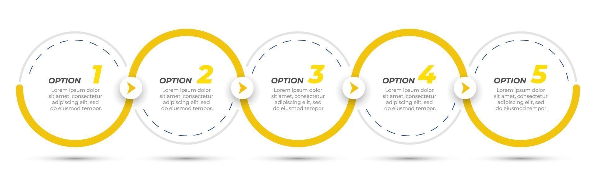 etichetta di progettazione infografica timeline con cerchi e frecce. concetto di affari con 5 opzioni o passaggi. può essere utilizzato per diagramma del flusso di lavoro, presentazioni, grafico informativo. vettore