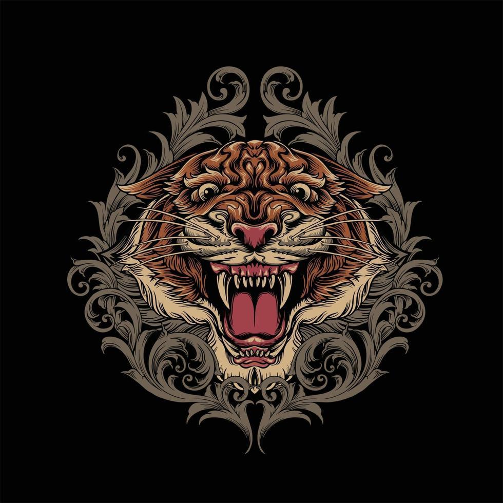 mascotte testa di tigre arrabbiata con turbinii ornamento vettore