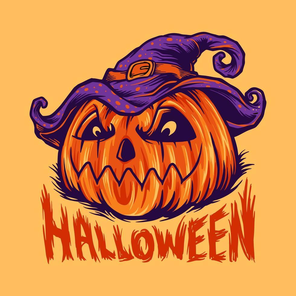 bizzarra illustrazione vettoriale zucca di halloween