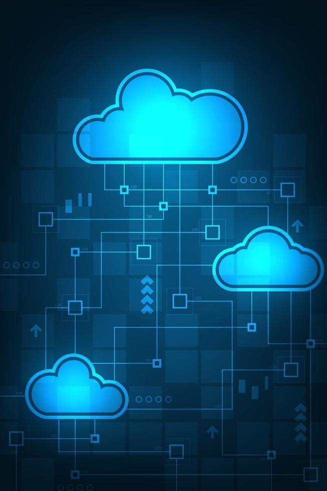 rete cloud di collegamento digitale sullo sfondo blu. vettore