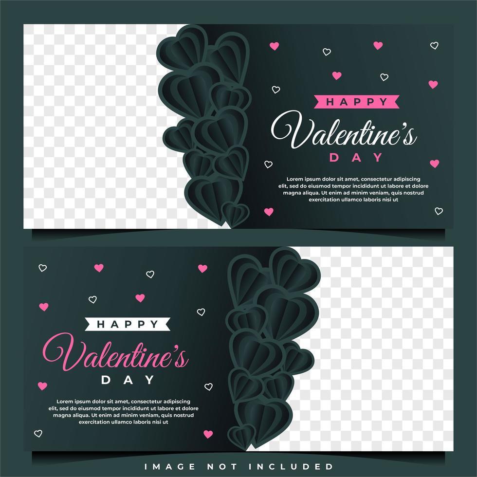 felice modello di banner di san valentino con modello di sfondo scuro vettore