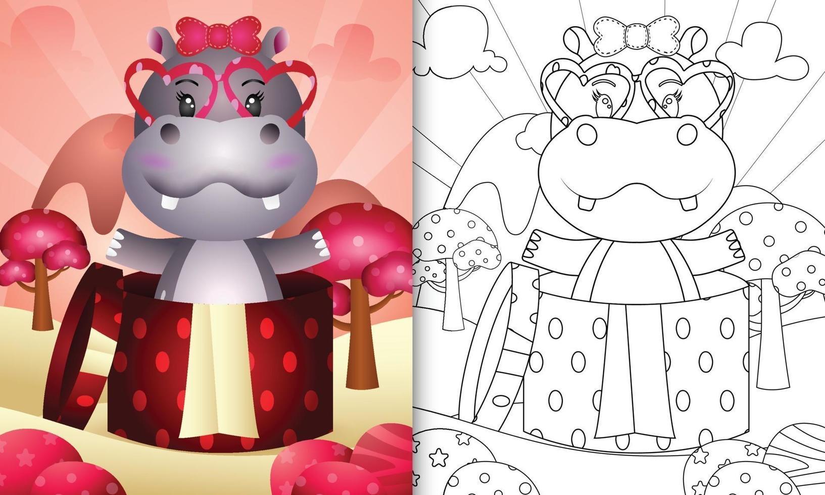libro da colorare per bambini con un simpatico ippopotamo nella confezione regalo per San Valentino vettore