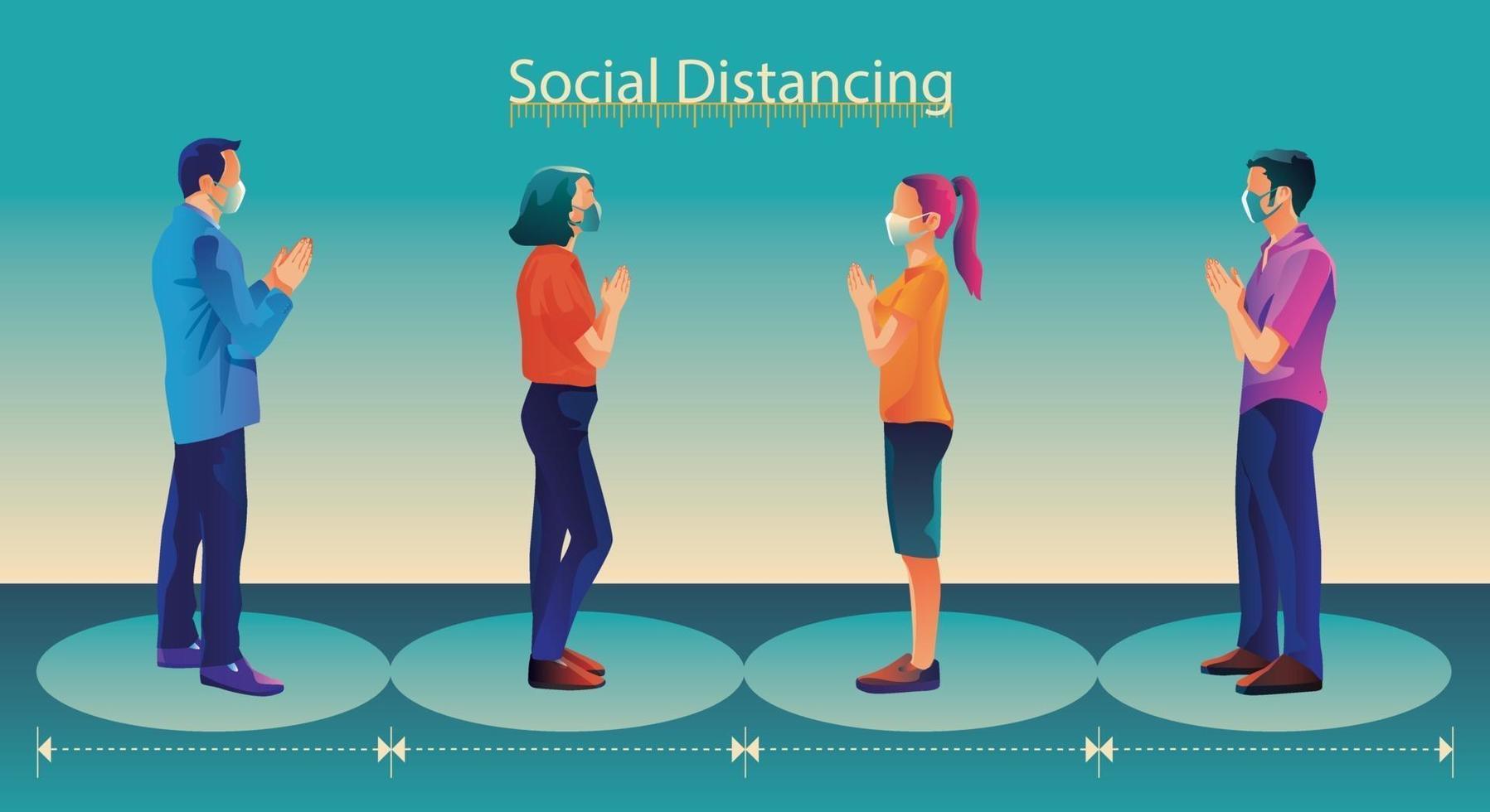 allontanamento sociale, le persone mantengono le distanze ed evitano il contatto fisico, la stretta di mano o il tocco della mano per proteggersi dal concetto di diffusione del coronavirus covid-19, le persone usano il saluto thailandese di sawasdee vettore