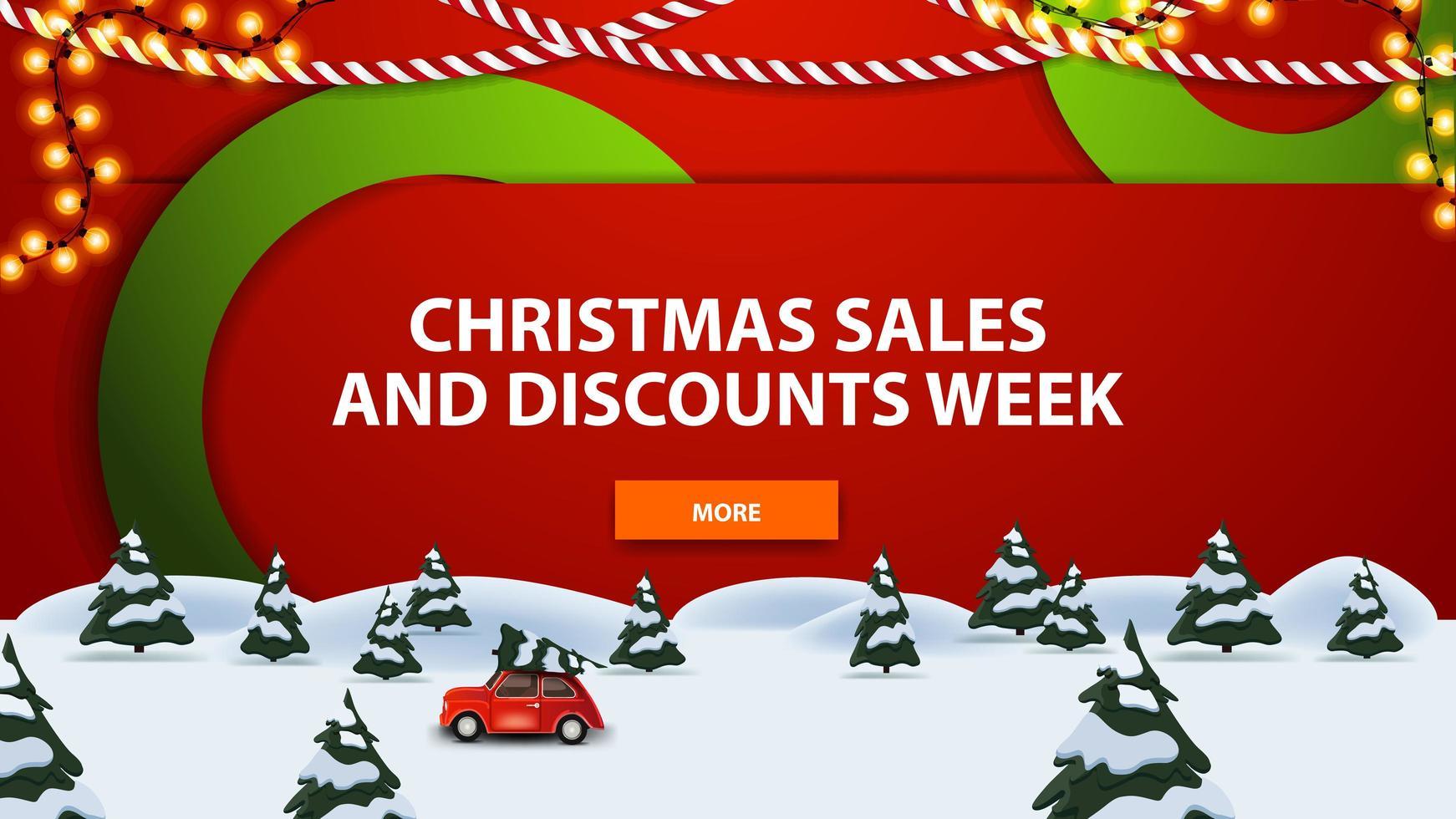 saldi natalizi e settimana di sconti, banner moderno con grandi cerchi verdi che si intrecciano con lo sfondo, foresta di pini invernali e auto d'epoca rossa che trasportano albero di Natale. vettore