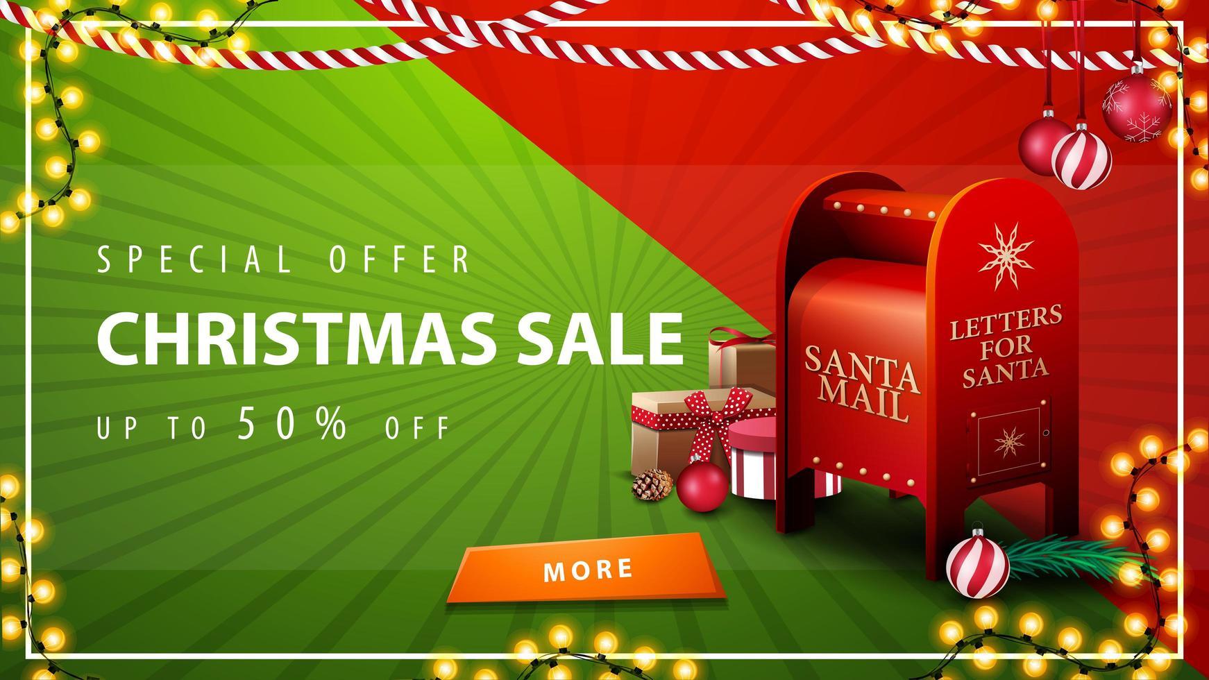 offerta speciale, saldi natalizi, sconti fino a 50, bellissimo banner sconto rosso e verde con ghirlande, bottone e cassetta delle lettere di Babbo Natale con regali vettore