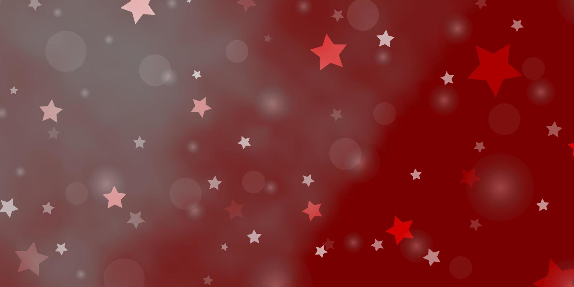 sfondo vettoriale rosso chiaro con cerchi, stelle.