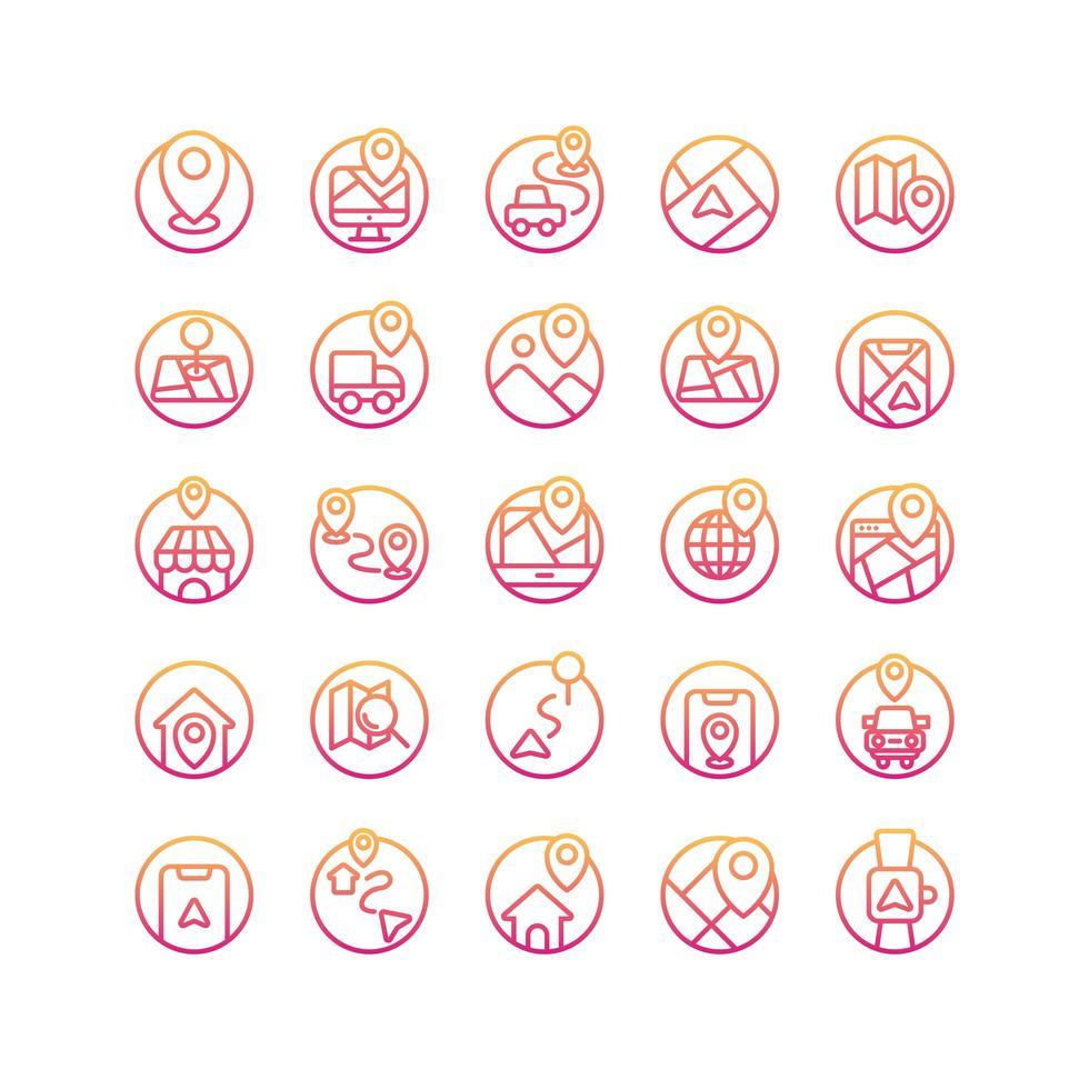 set di icone di posizione e mappa gradiente. vettore e illustrazione.