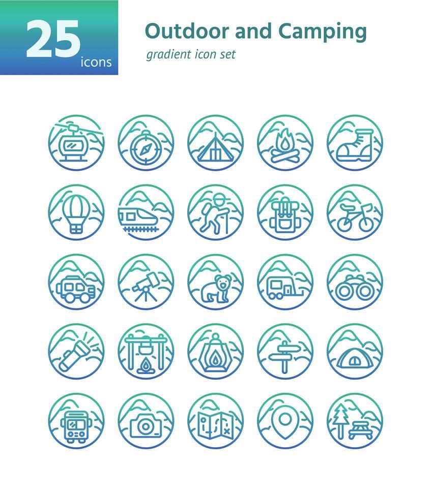 icona gradiente outdoor e campeggio sel. vettore e illustrazione.