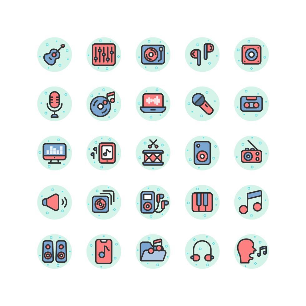 set di icone di contorno pieno di musica e suono. vettore e illustrazione.