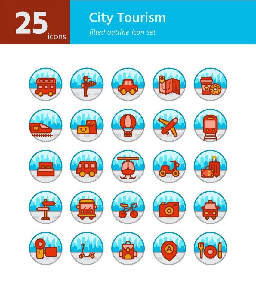 set di icone di contorno pieno di turismo della città. vettore e illustrazione.