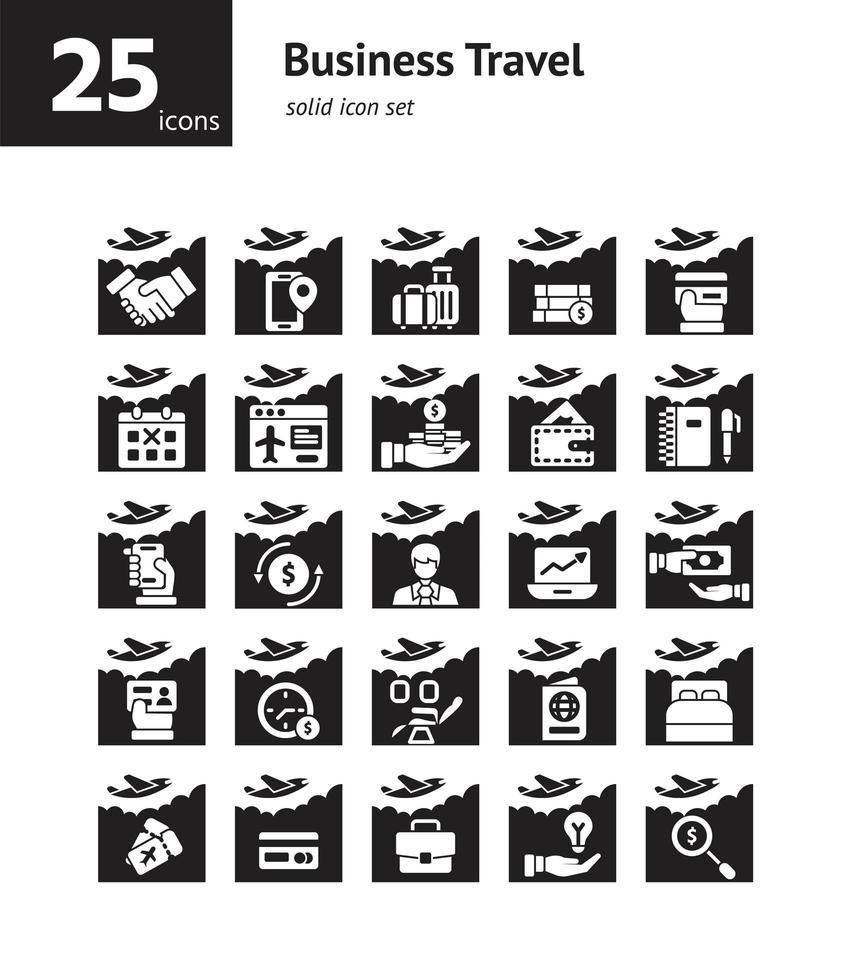 set di icone solide viaggi d'affari. vettore e illustrazione.