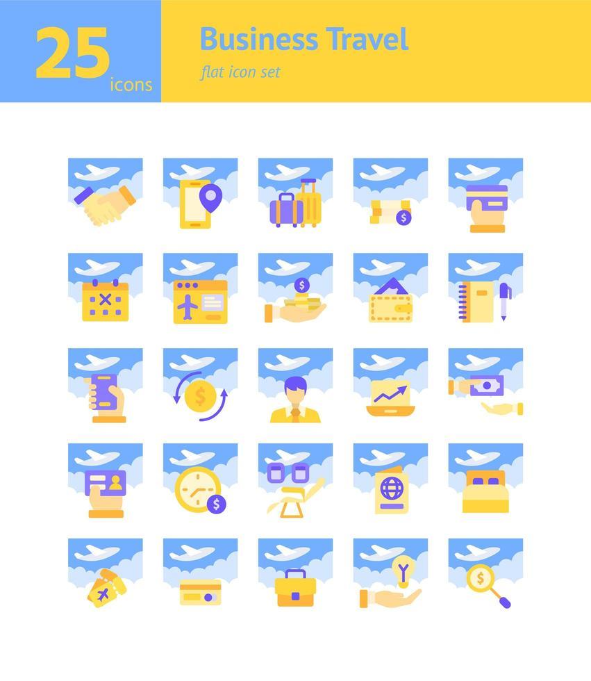 set di icone piatte viaggi d'affari. vettore e illustrazione.