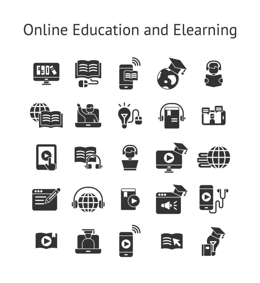 set di icone solide di istruzione online e e-learning. vettore