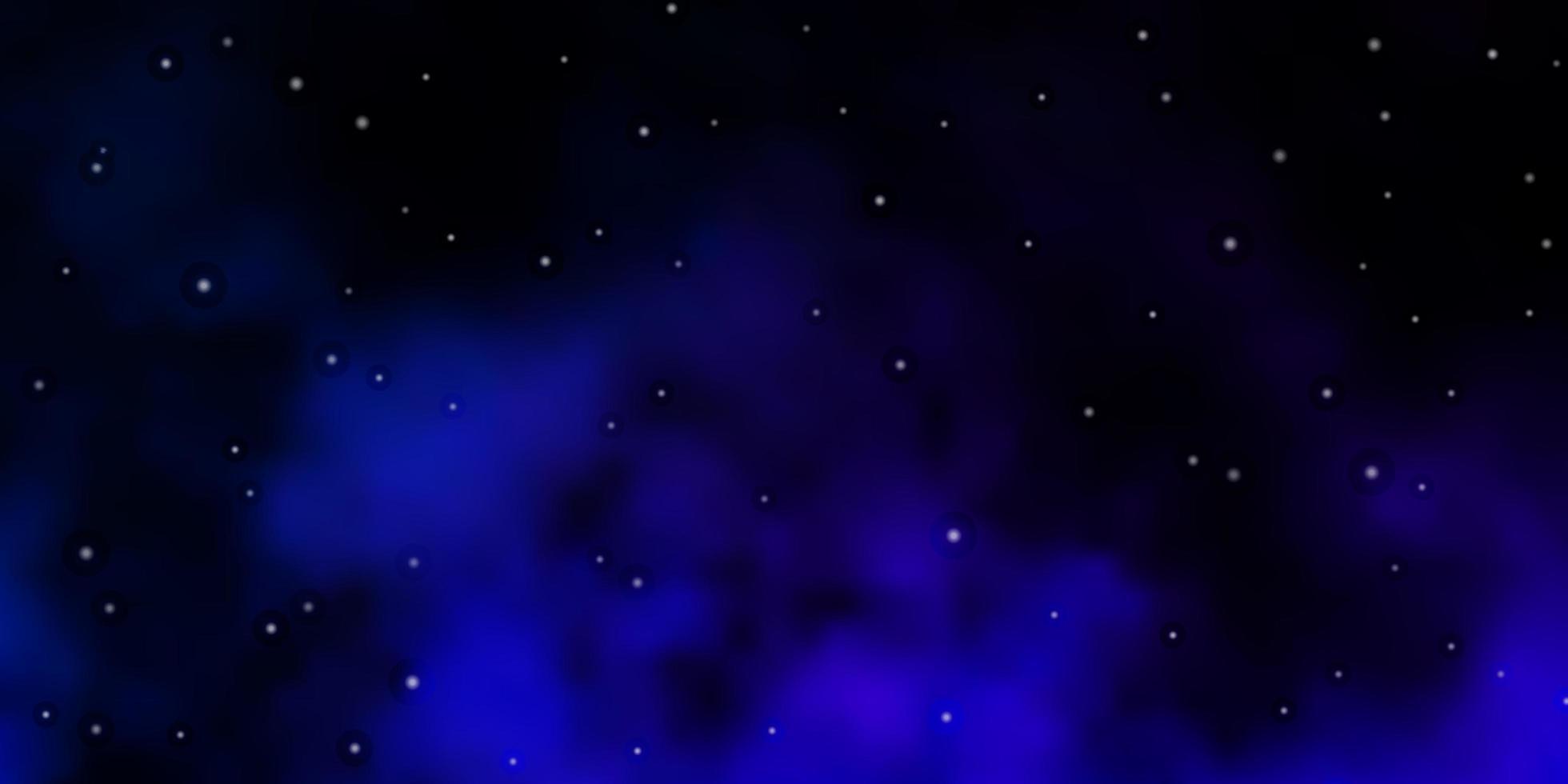 modello vettoriale blu scuro con stelle al neon.