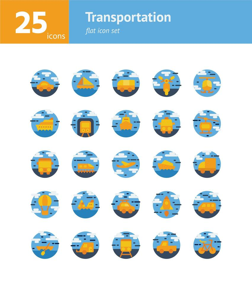 set di icone piatte di trasporto. vettore e illustrazione.
