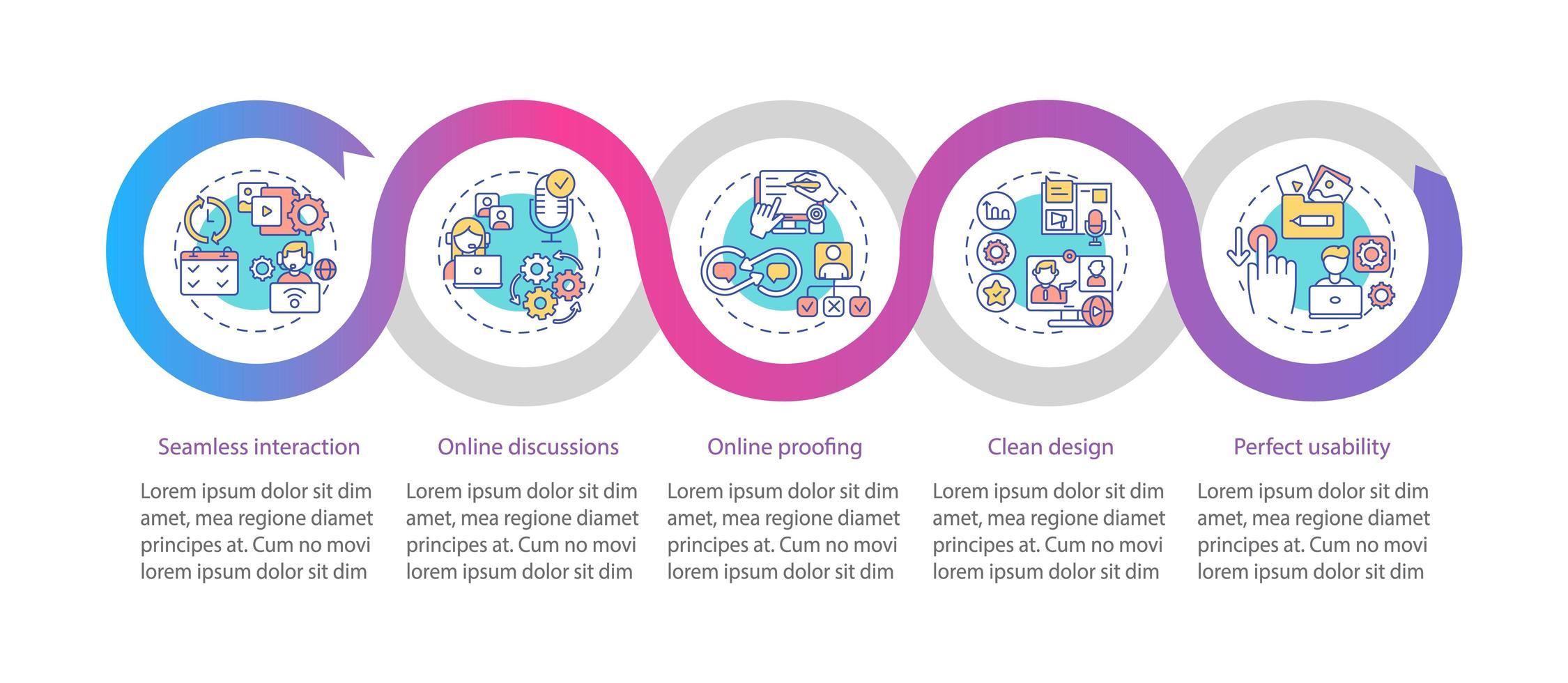 l'app di telelavoro presenta un modello di infografica vettoriale