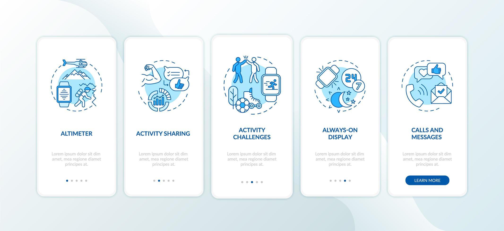 smartwatch presenta la schermata della pagina dell'app mobile con concetti vettore
