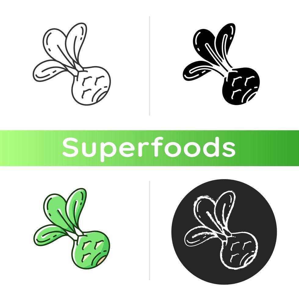 icona di cibo di cavolo rapa vettore