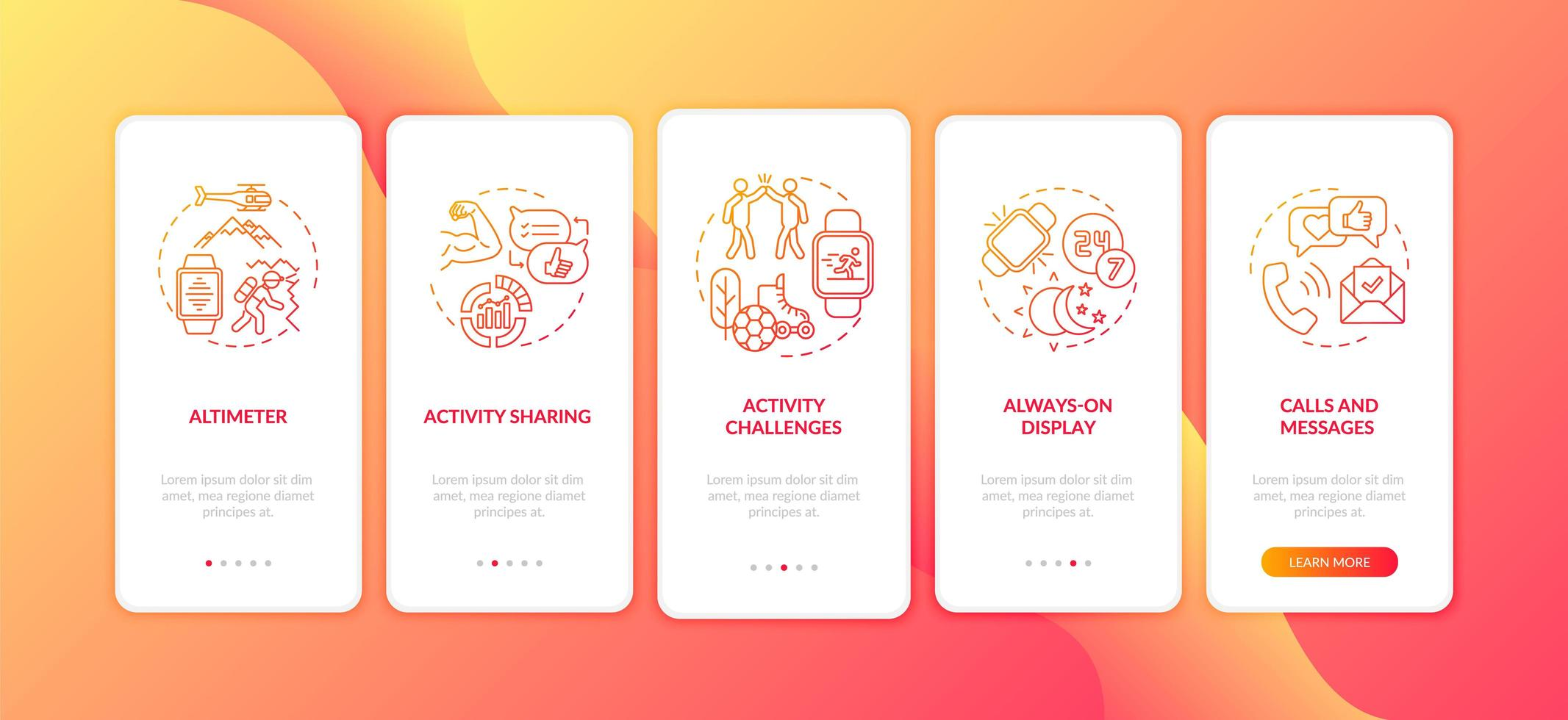 l'orologio intelligente include la schermata della pagina dell'app mobile con concetti vettore