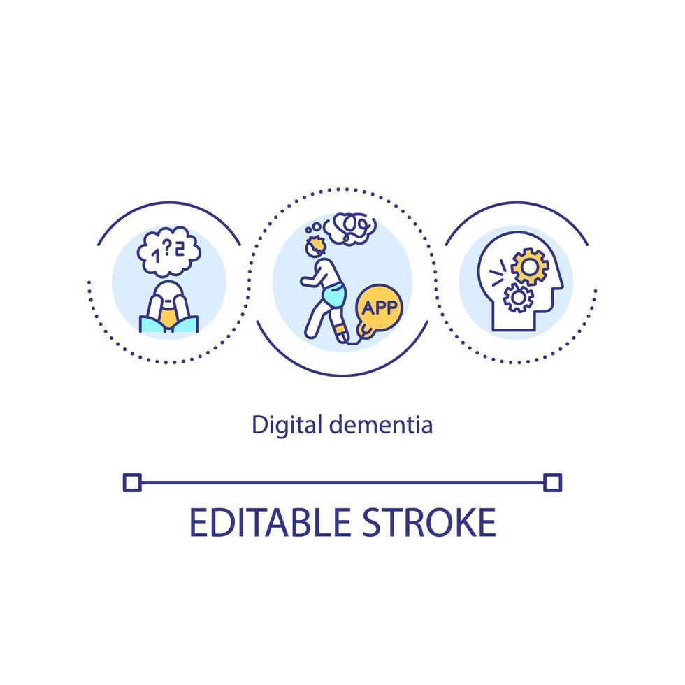 icona del concetto di demenza digitale vettore