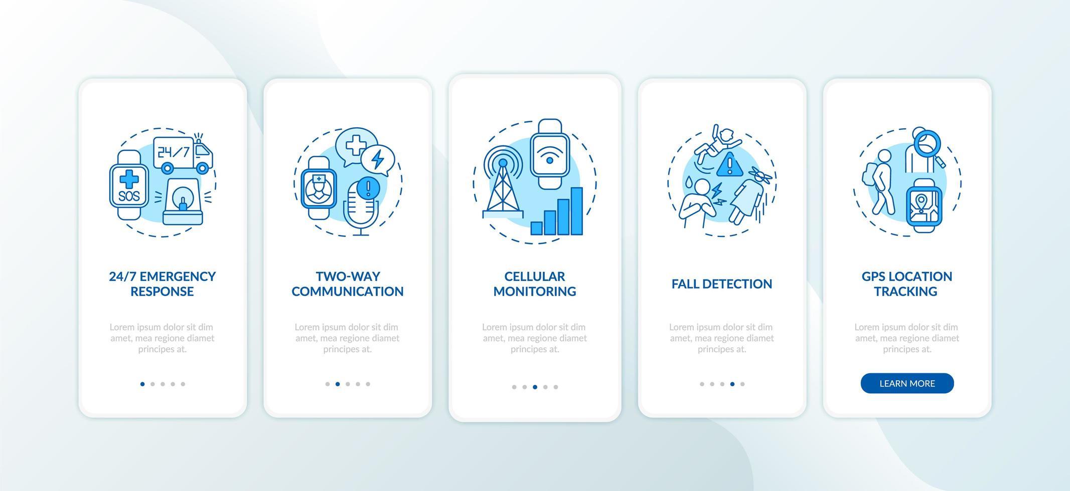 opzioni smartwatch di allerta medica onboarding schermata della pagina dell'app mobile con concetti vettore
