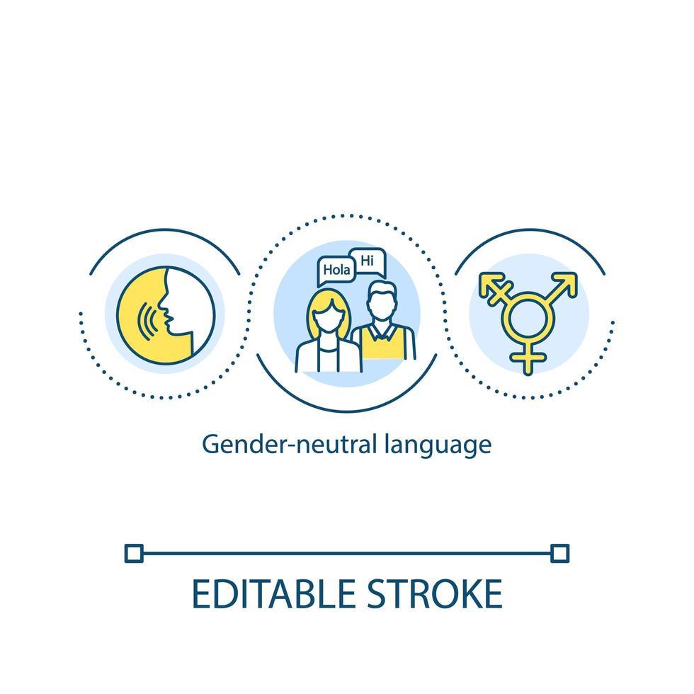 icona del concetto di lingua neutra di genere vettore