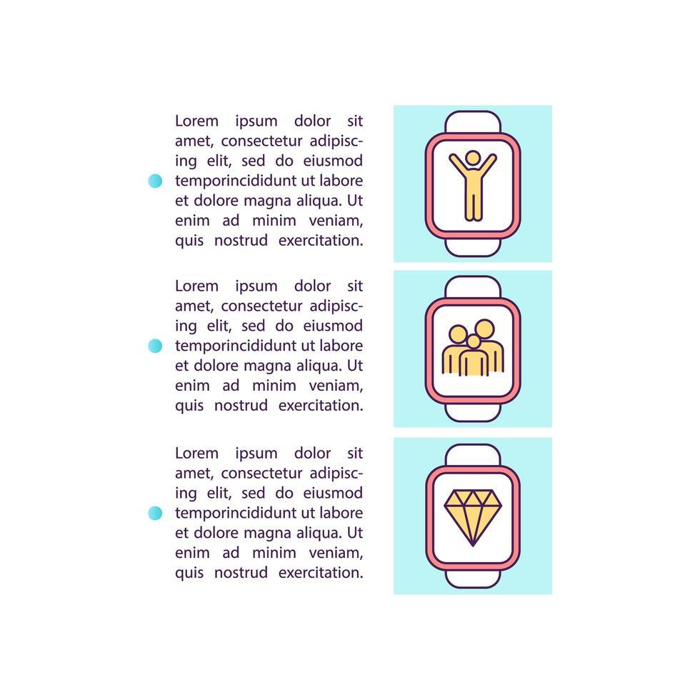 la famiglia collega l'icona del concetto di smartwatch con il testo vettore