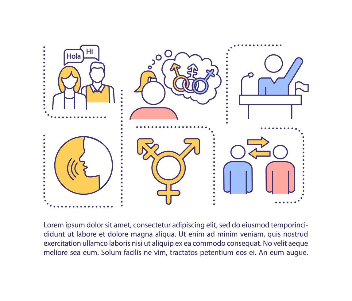 icona del concetto di neutralità di genere con testo vettore