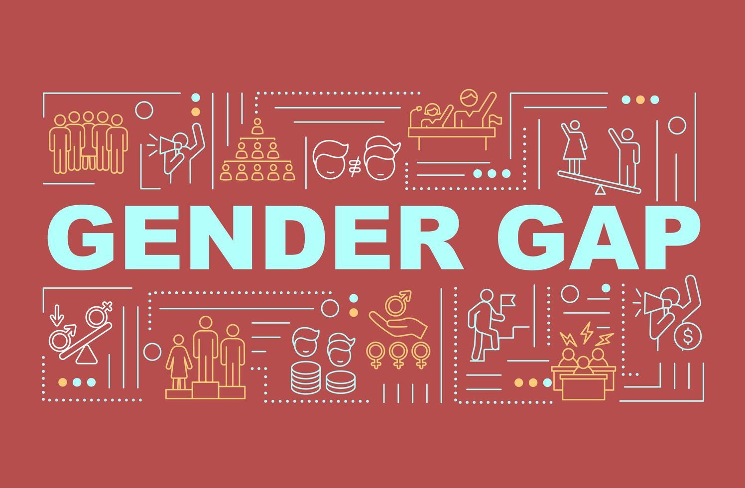divario di genere nel banner di concetti di parola sul posto di lavoro vettore