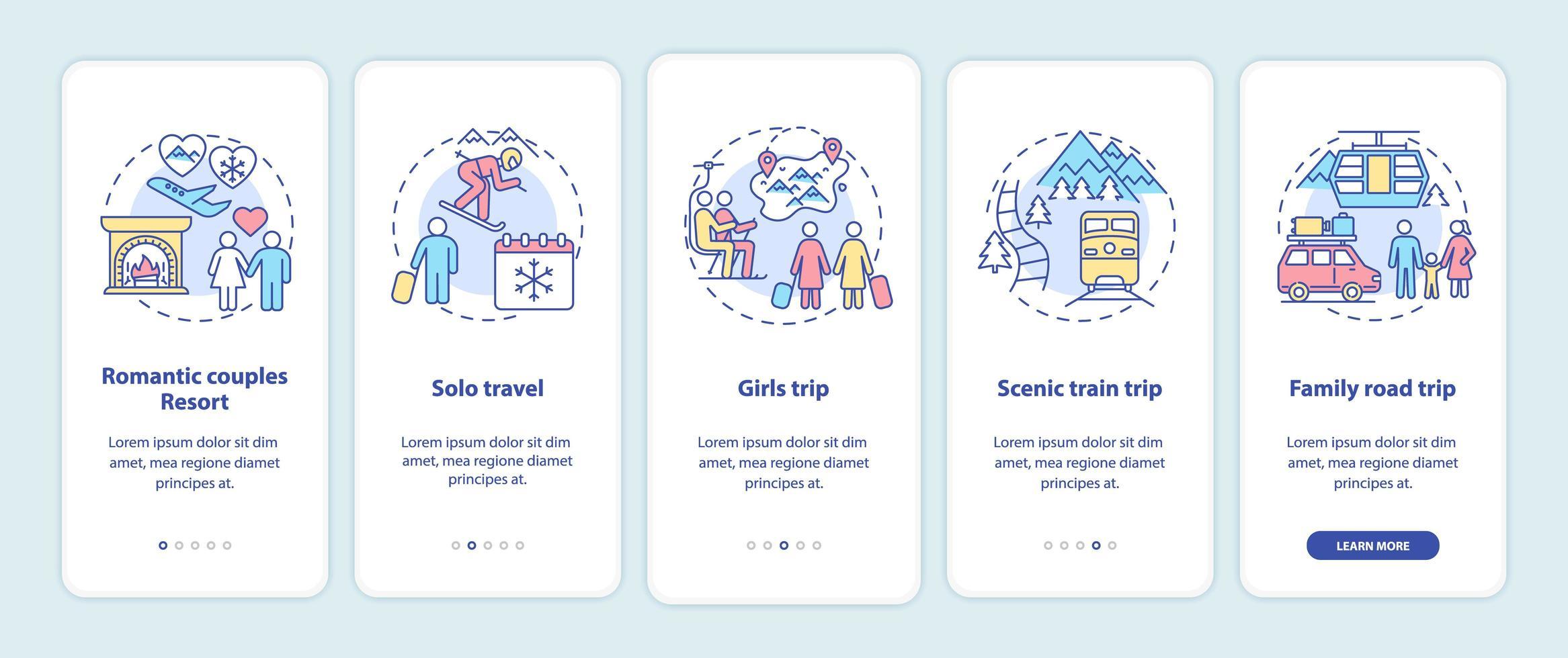idee per le vacanze invernali sulla schermata della pagina dell'app mobile con concetti vettore