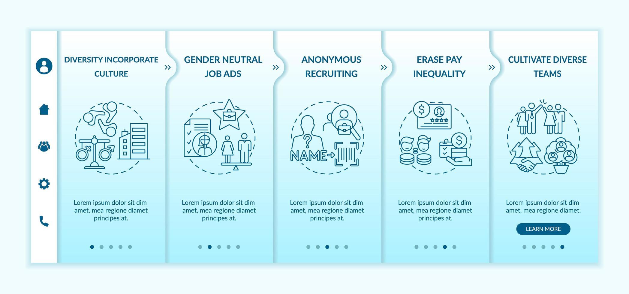 suggerimenti per l'implementazione della diversità di genere modello vettoriale di onboarding
