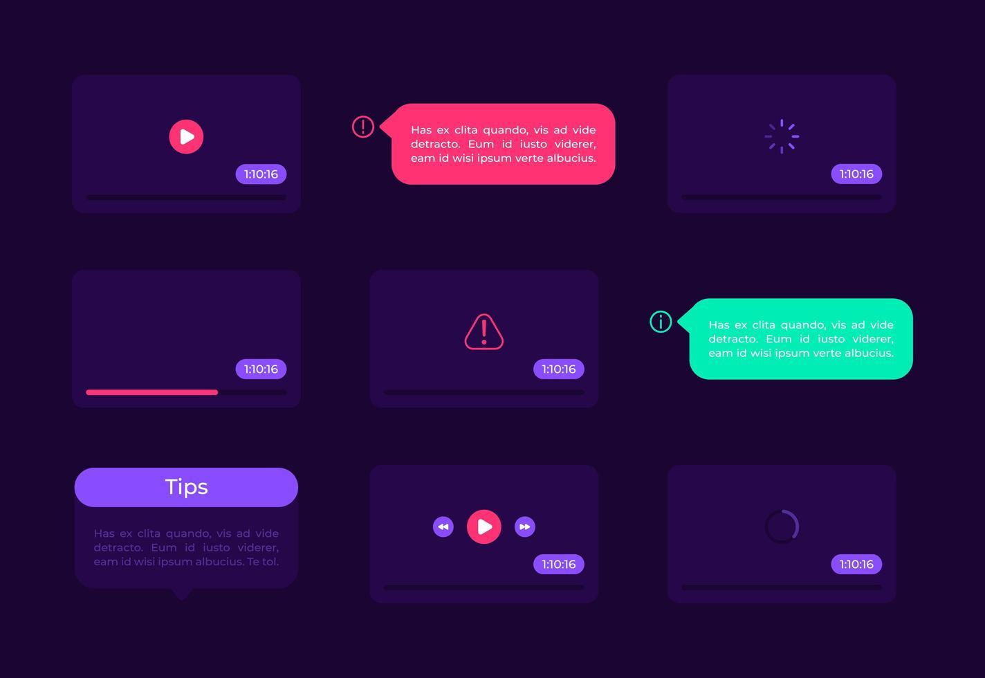 kit di elementi dell'interfaccia utente dello schermo video vettore