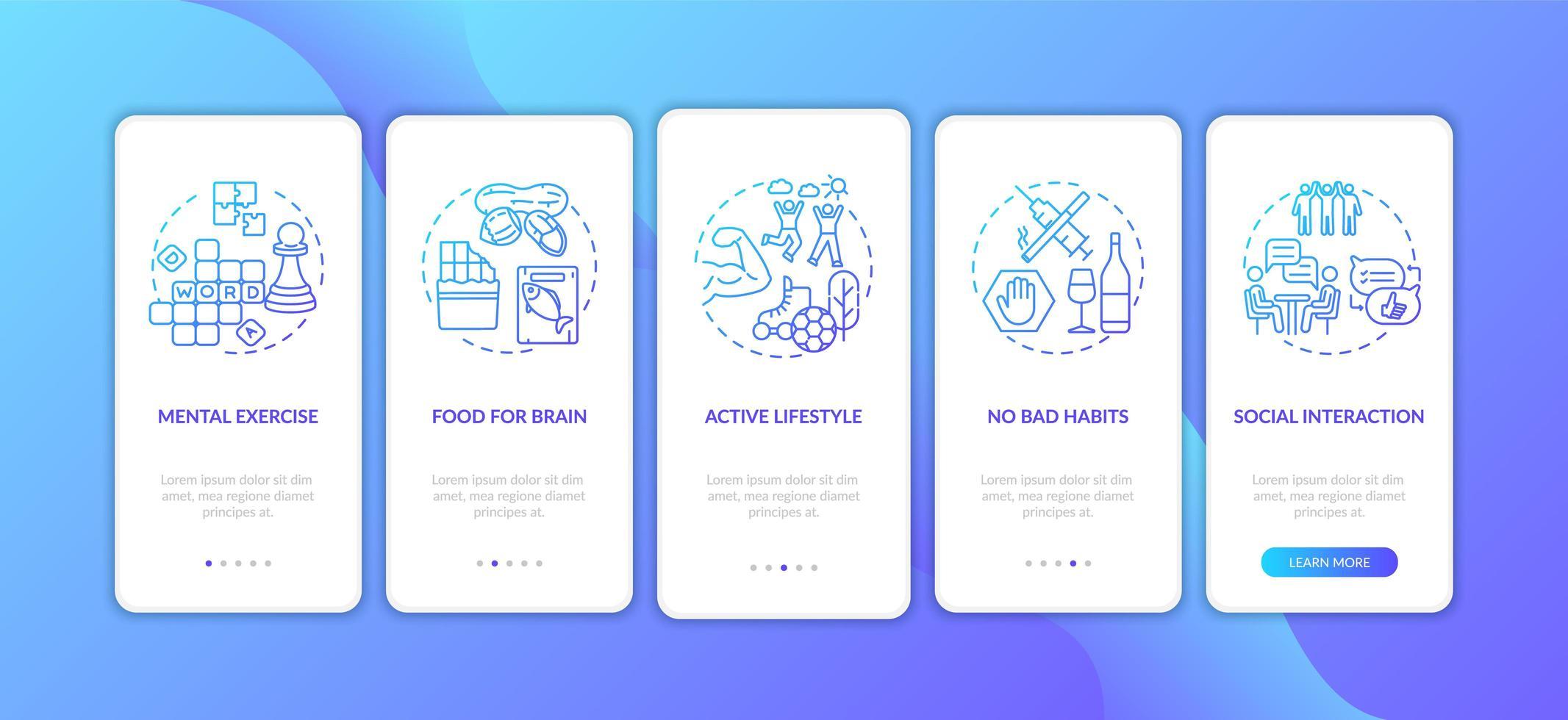 schermata della pagina dell'app mobile onboarding gradiente blu di assistenza sanitaria del cervello con concetti vettore