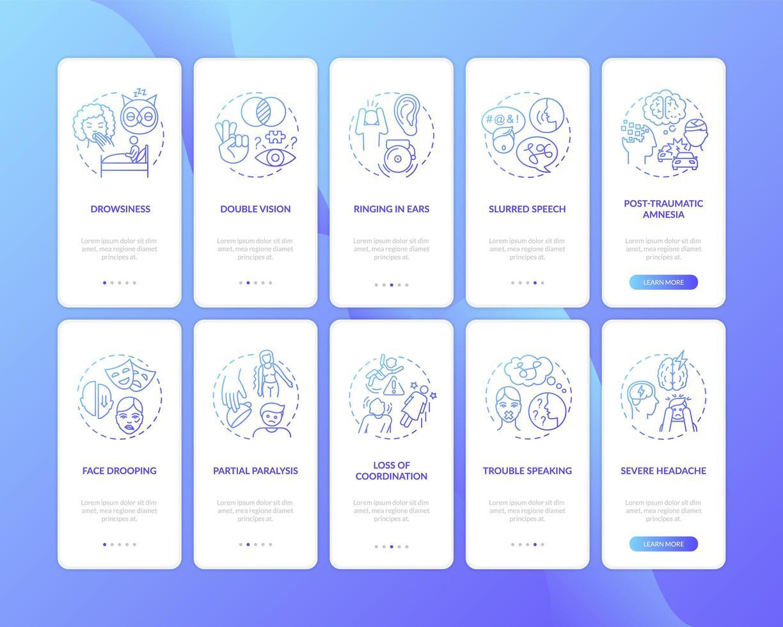 problema neurologico segno gradiente blu onboarding schermata della pagina dell'app mobile con concetti impostati vettore