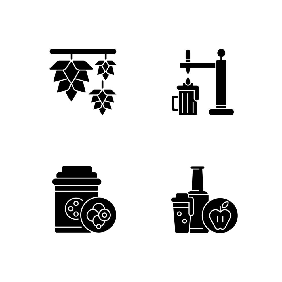 Icone nere del glifo della bevanda della birra messe sullo spazio bianco vettore