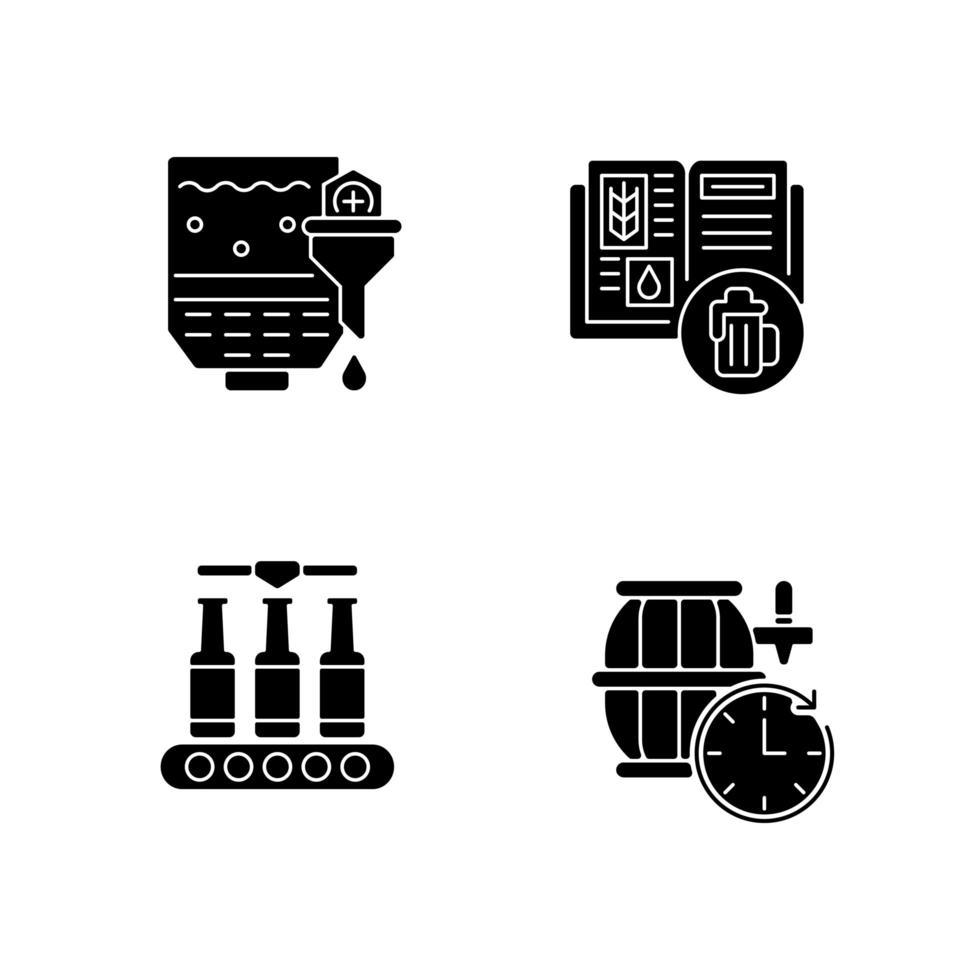 icone del glifo di produzione di birra nero impostato su uno spazio bianco vettore