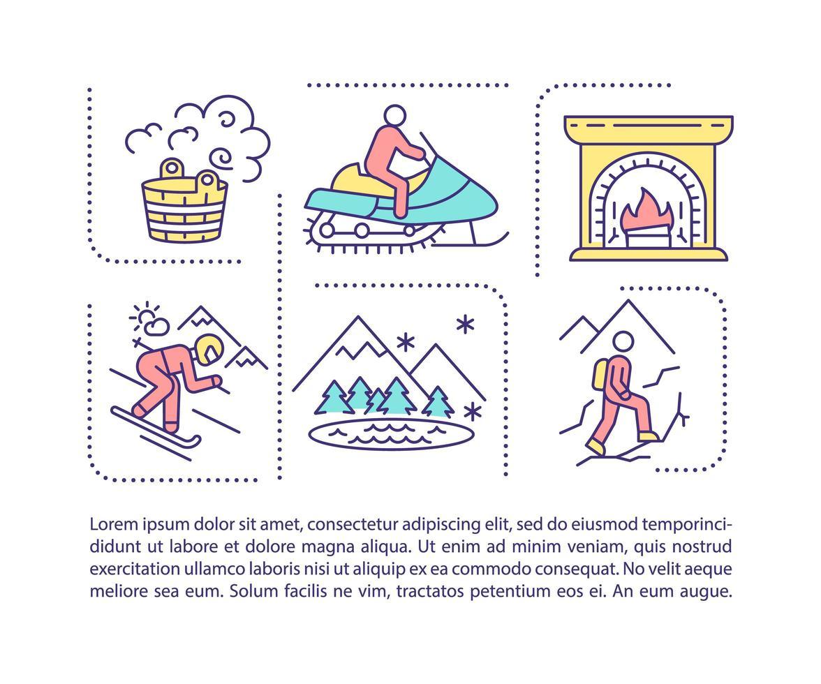 icona di concetto di tempo di spesa invernale con testo vettore