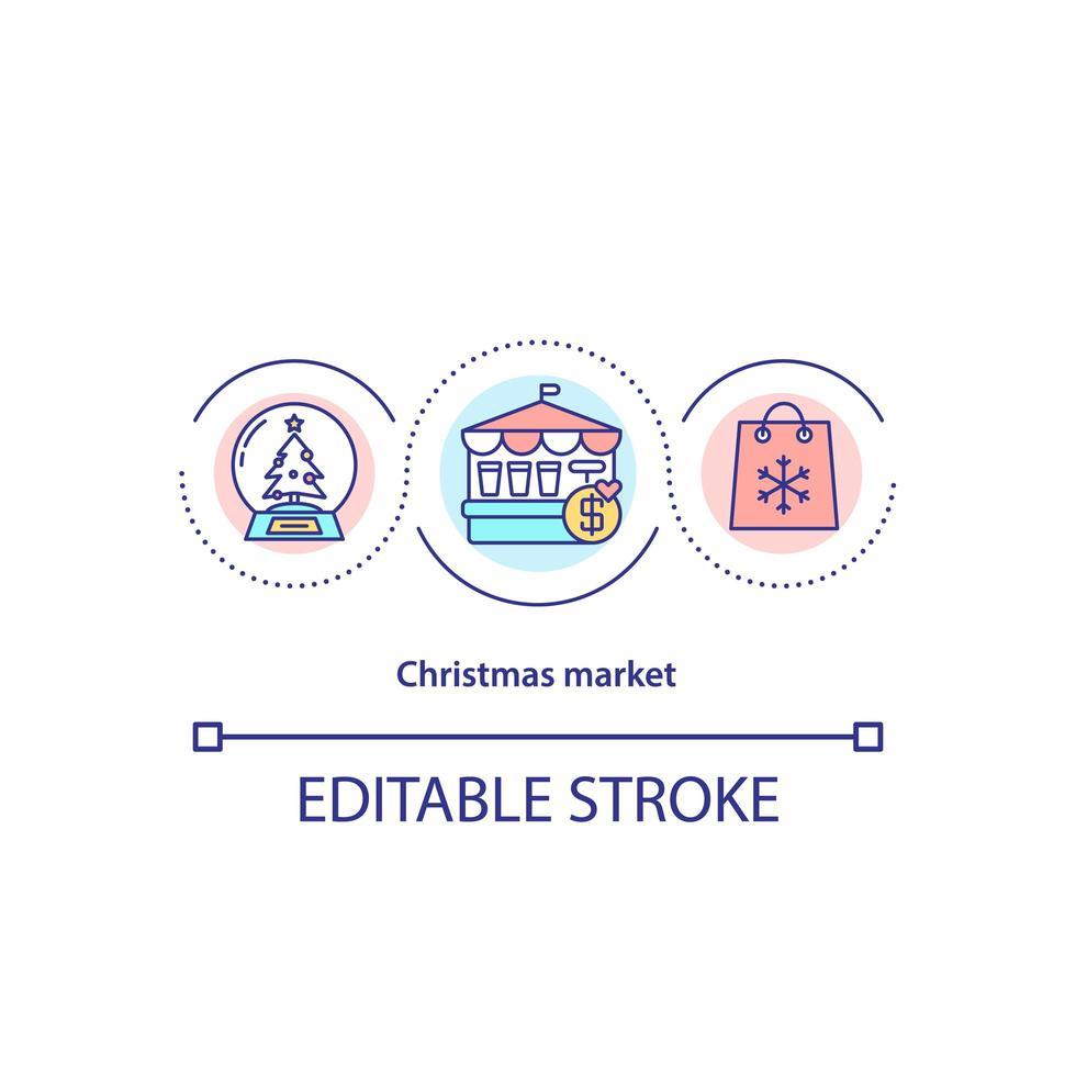 icona del concetto di mercatino di Natale vettore