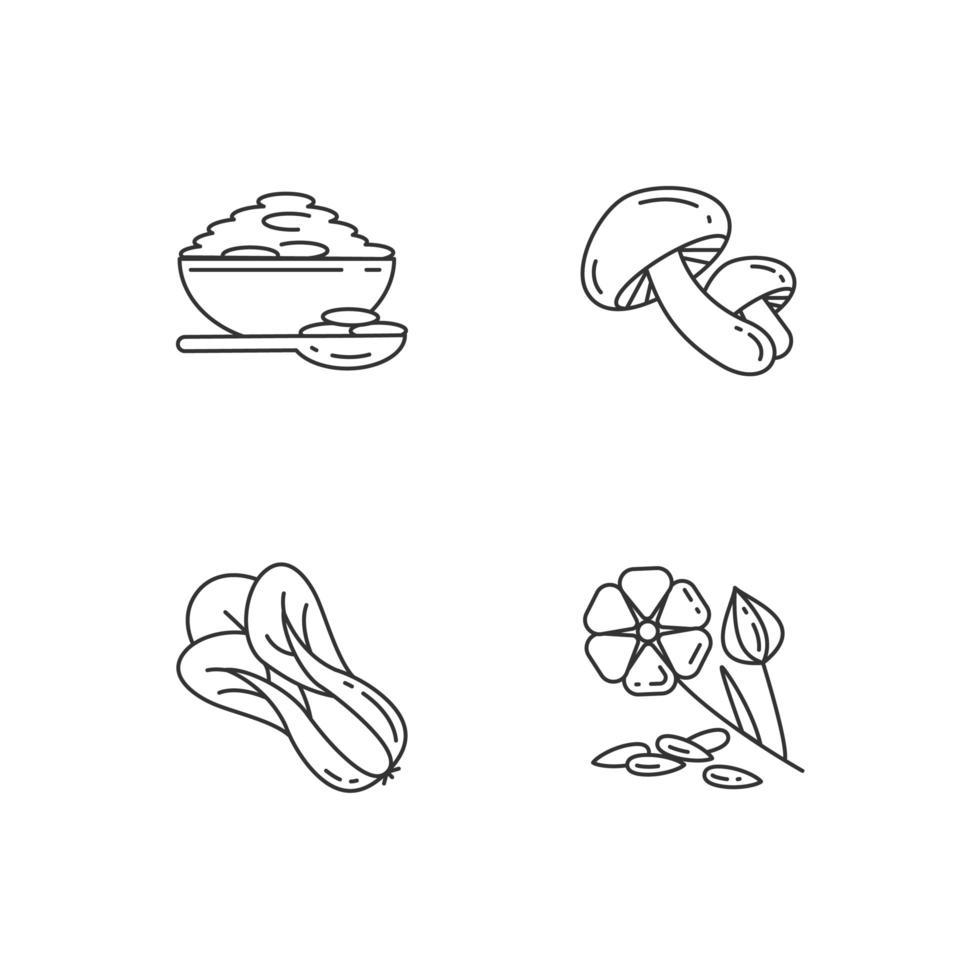 set di icone lineari perfette pixel di grani sani vettore