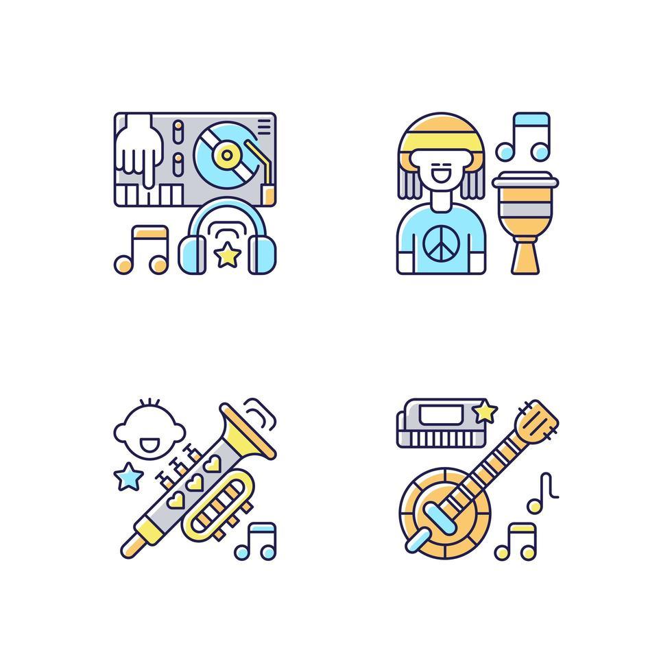 generi di musica moderna varietà di icone di colore rgb impostate vettore