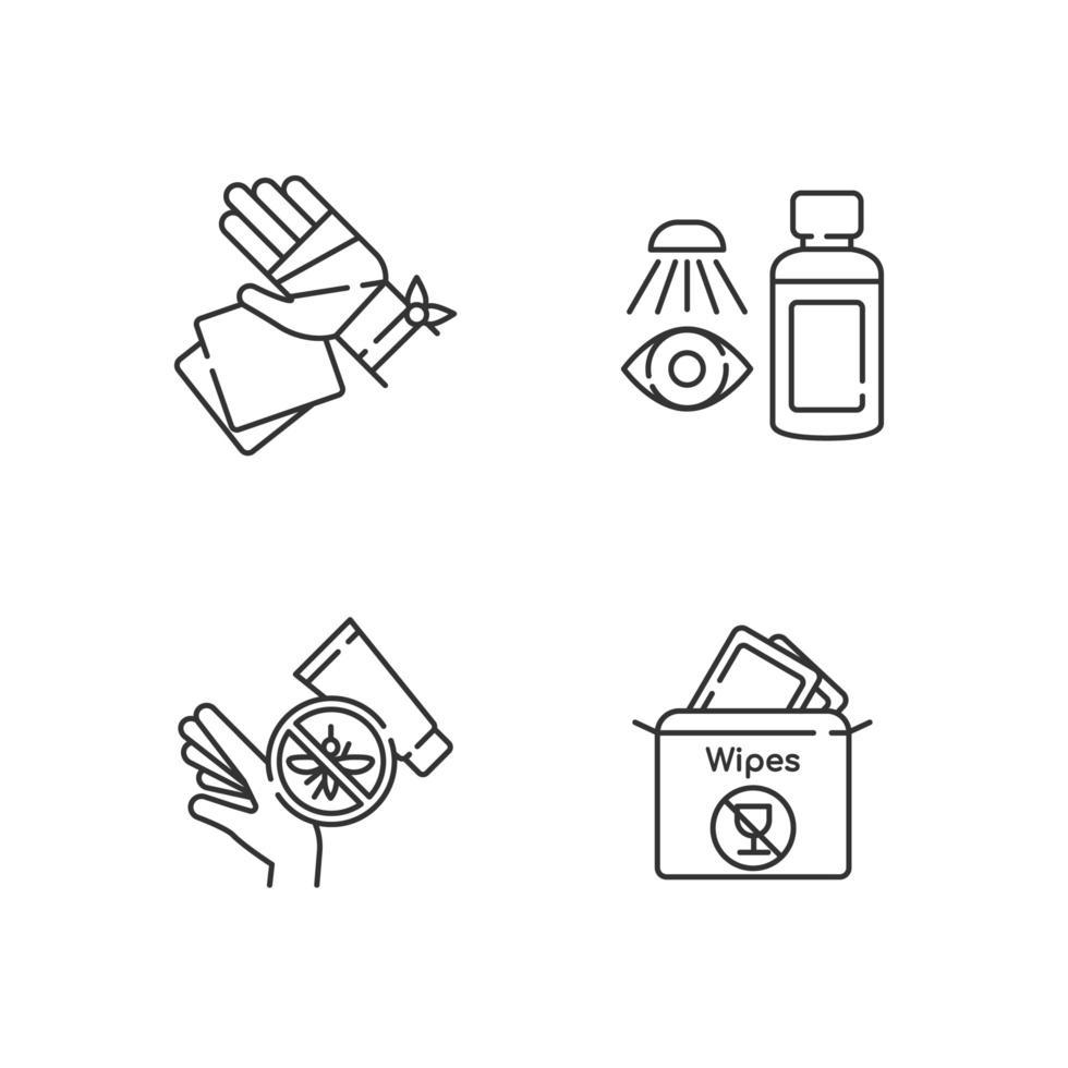 set di icone lineari kit medico di emergenza vettore