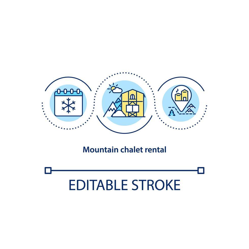 icona di concetto di noleggio chalet di montagna vettore