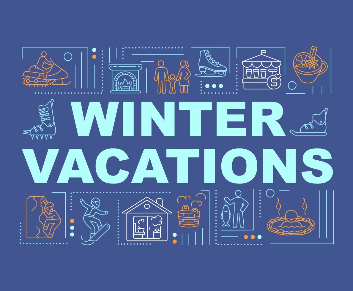 banner di concetti di parola vacanze invernali vettore