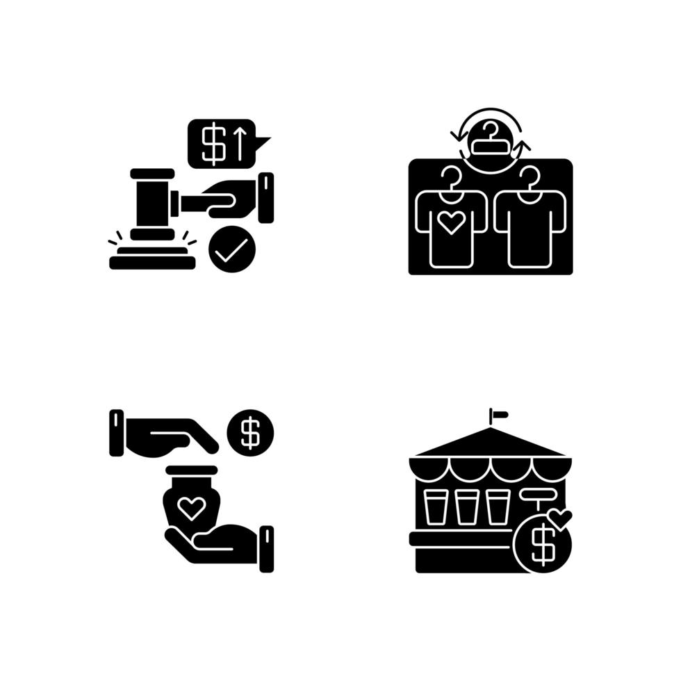 servizi di vendita al dettaglio icone glifo nero impostato su uno spazio bianco vettore