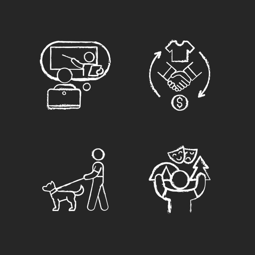 opportunità di lavoro gesso icone bianche impostate su sfondo nero vettore